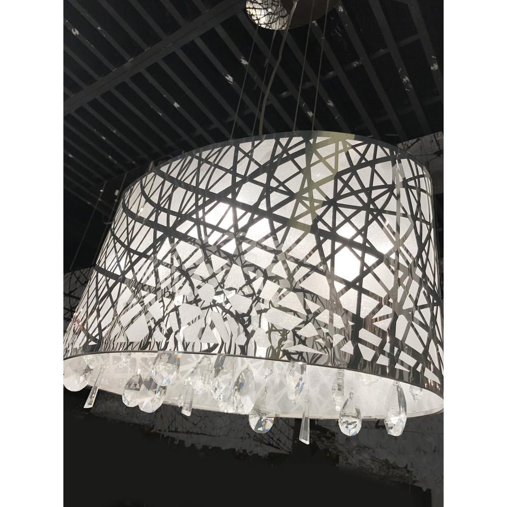 8e115b1ec29 Julie Collection 4 Light Chrome Finish Oval Drum Shade with Clear Crystal  Chandelier 21