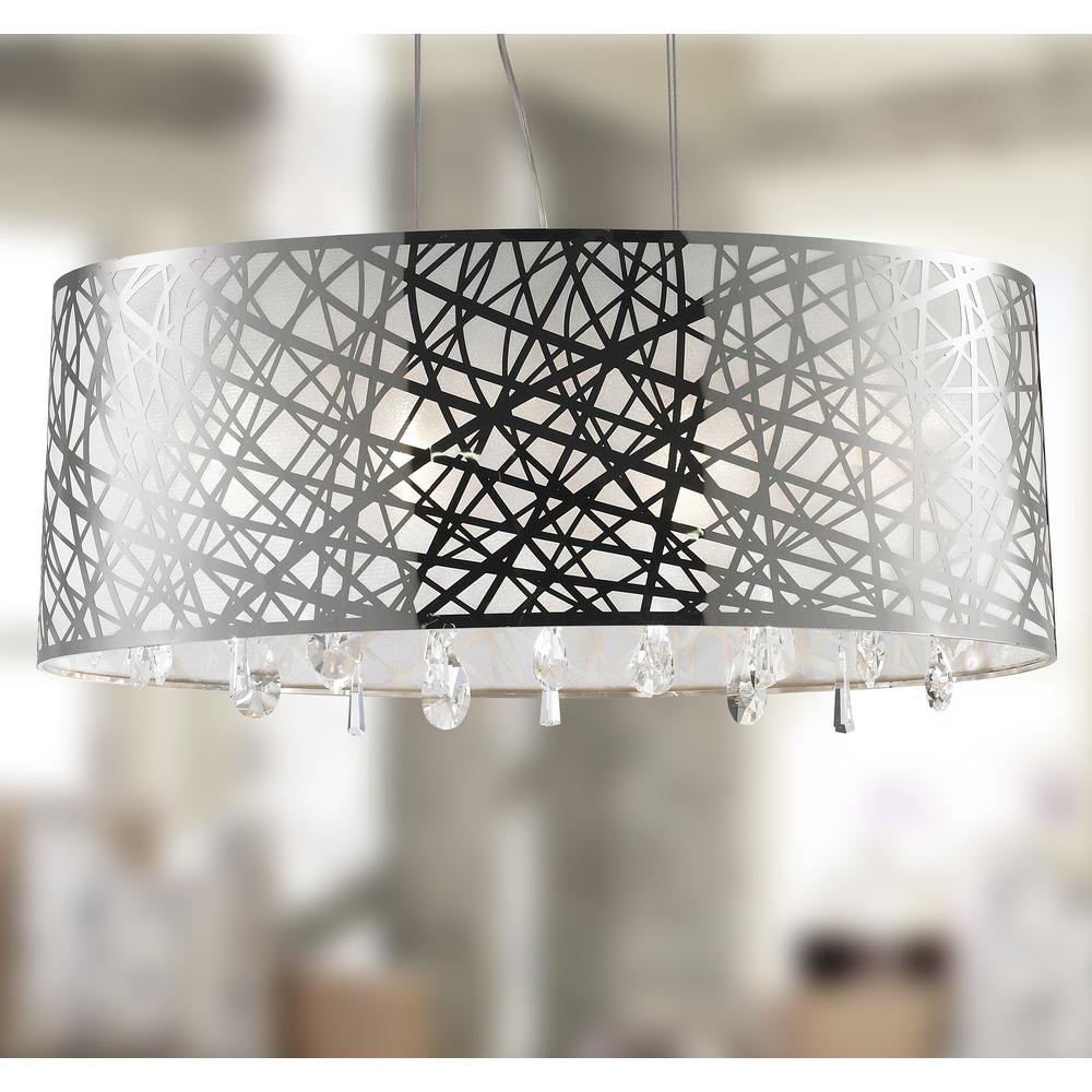 f55bf42b67d Julie Collection 6 Light Chrome Finish Oval Drum Shade with Clear Crystal  Chandelier 29