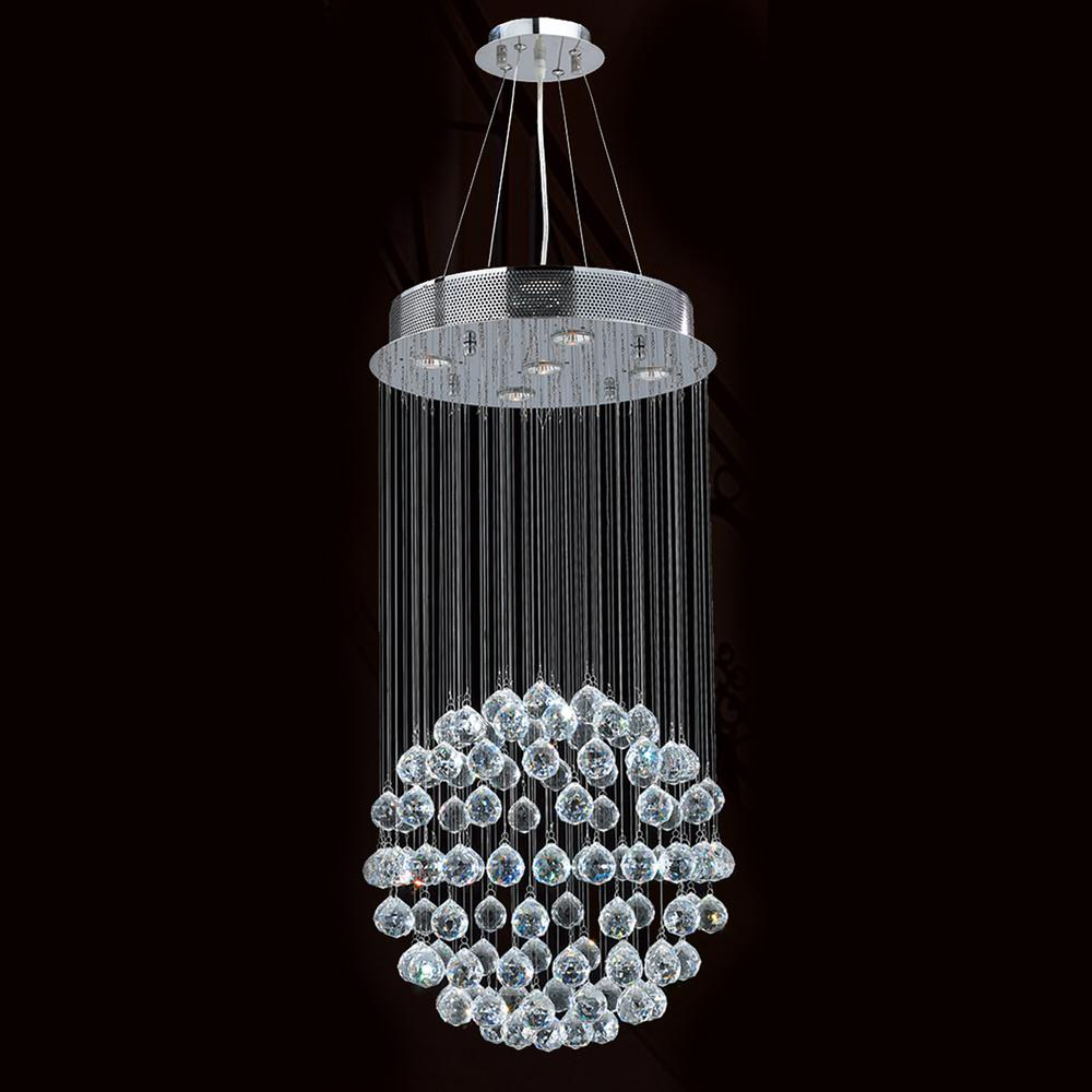Saturn collection 5 light chrome finish and clear crystal galaxy saturn collection 5 light chrome finish and clear crystal galaxy chandelier 16 d x 32 h medium aloadofball Images