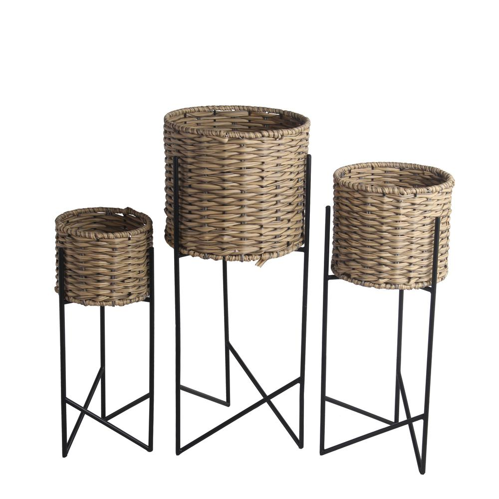 Set of 3 Natural/Black Rattan/Metal Planters. Picture 1