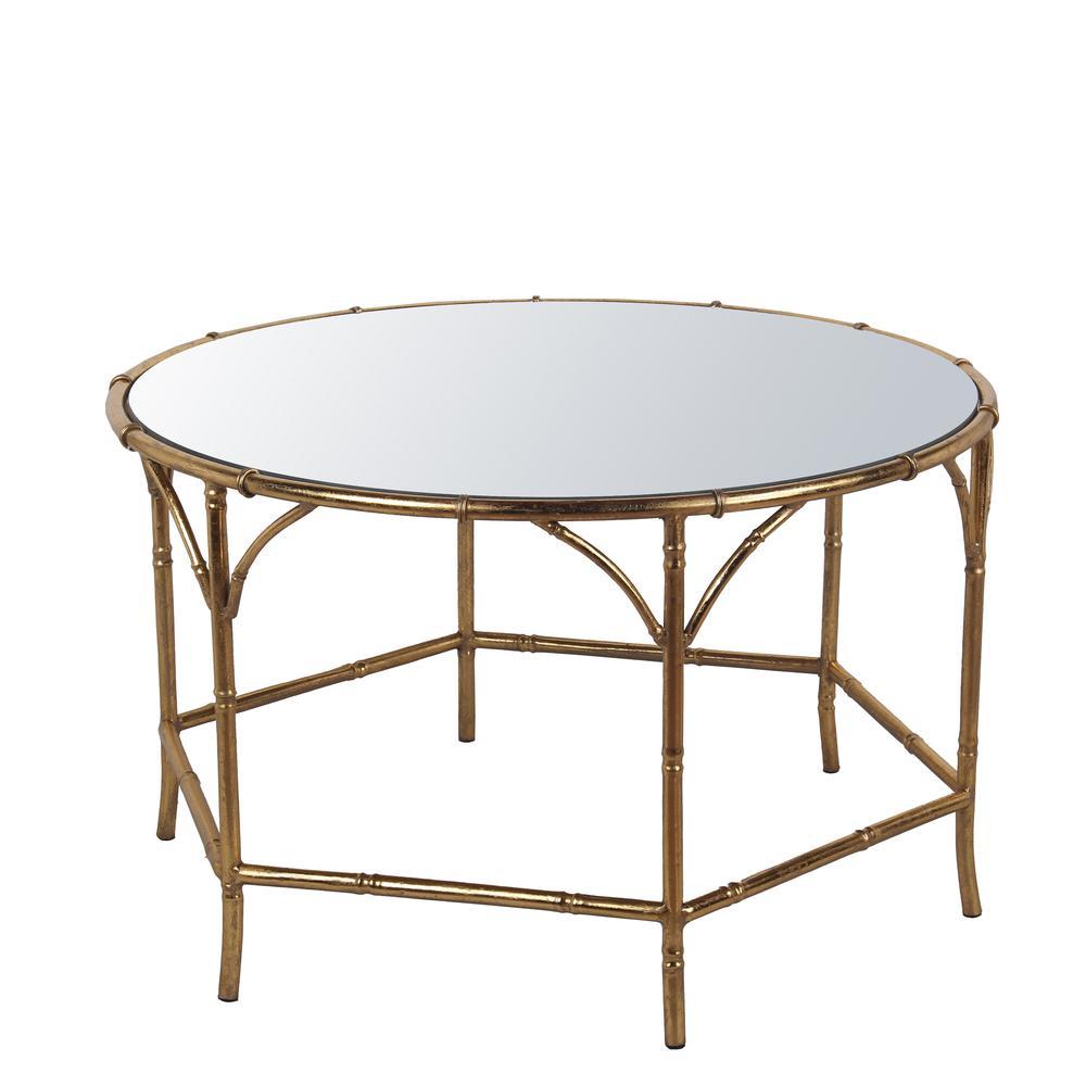 Kaplan Global Trunk Coffee Table Reclaimed Whitewash Large: Gold Leaf Metal Coffee Table