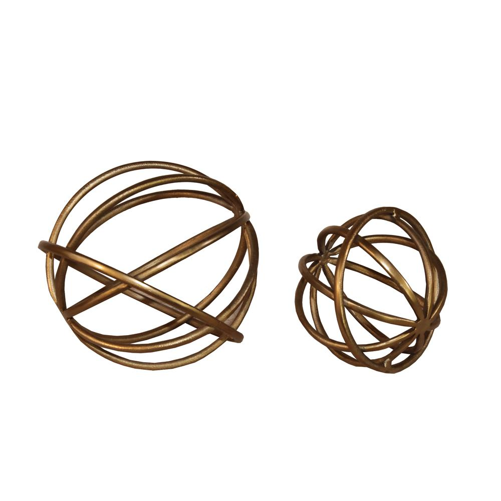 2 Pc Spheres Raw Gold