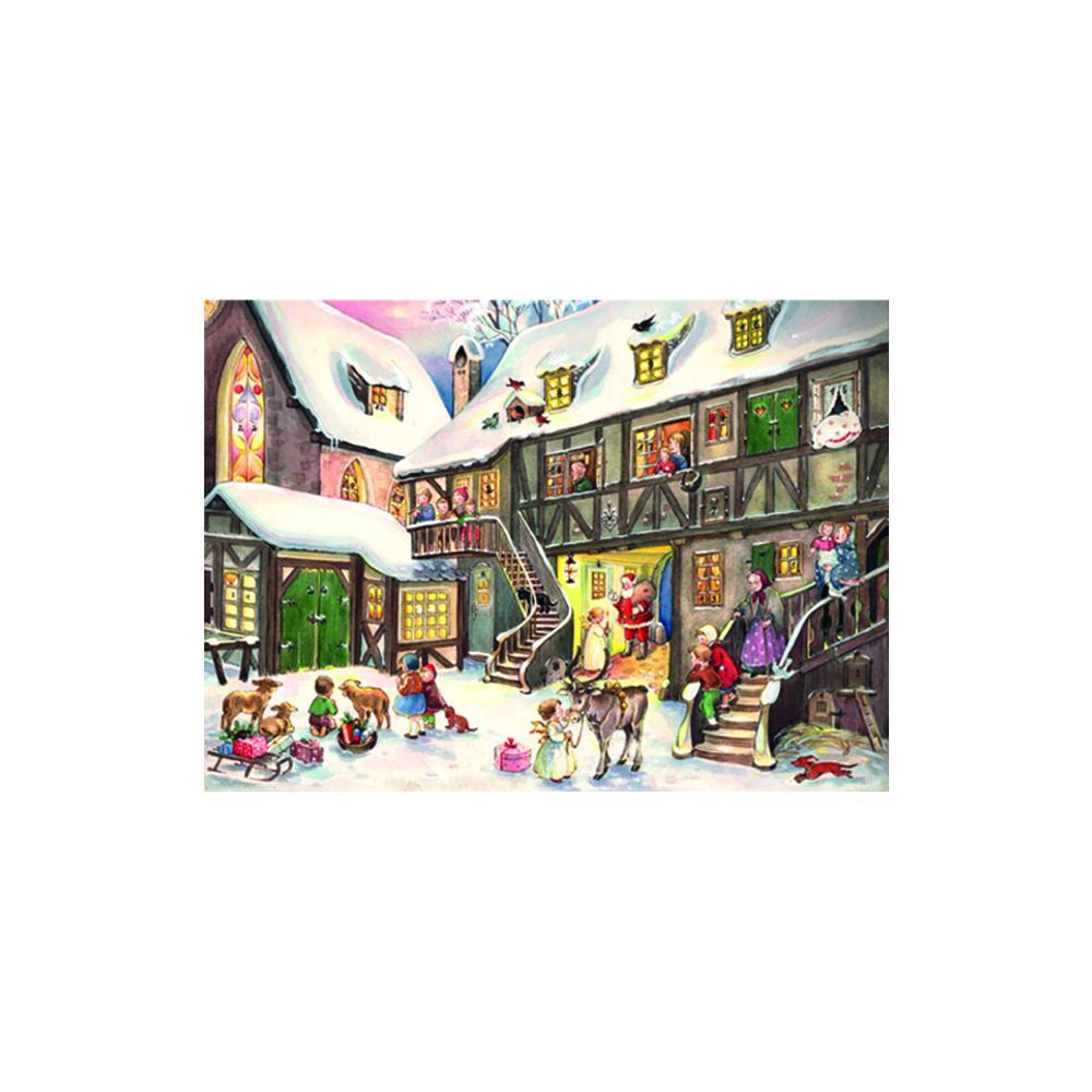 "Sellmer Advent - Santa in Village - 6""H x 8""W x .1""D. Picture 1"