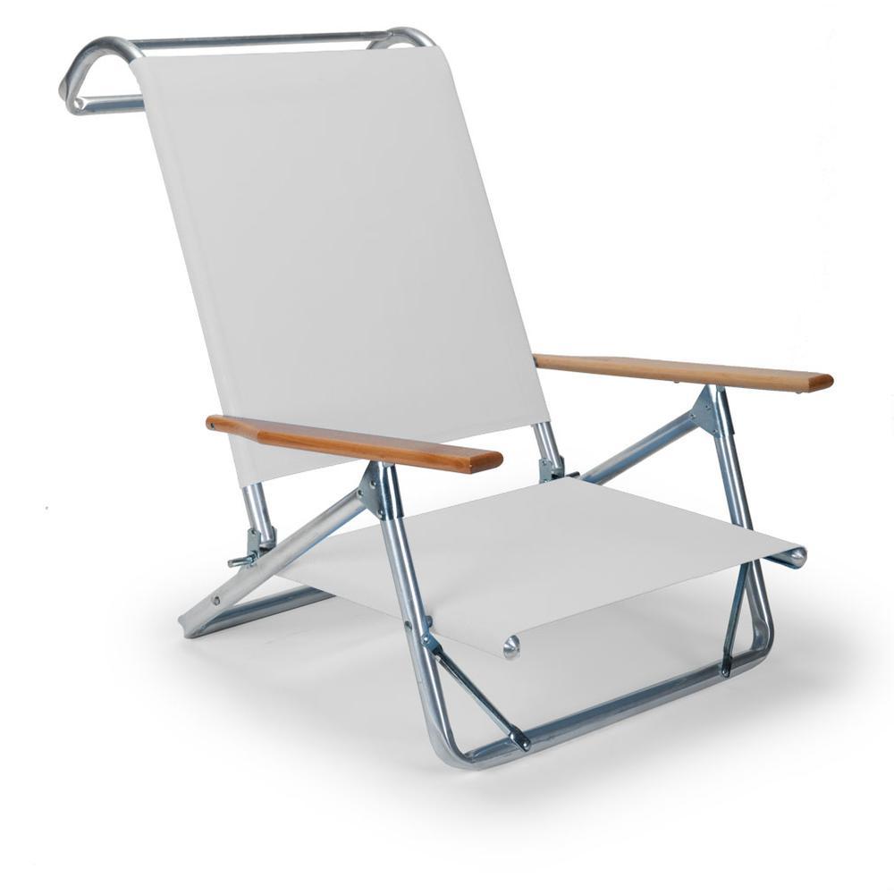 Original Mini-Sun Chaise Folding Beach Arm Chair With White Fabric. Picture 1