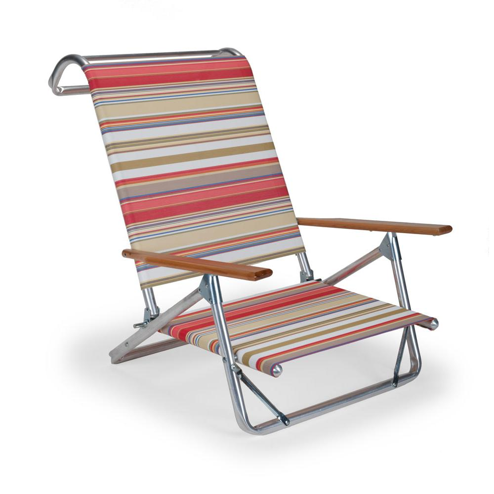 Set of 2 Telescope Casual Original Mini-Sun Chaise Folding Beach Arm Chairs With Fiesta Fabric. Picture 1