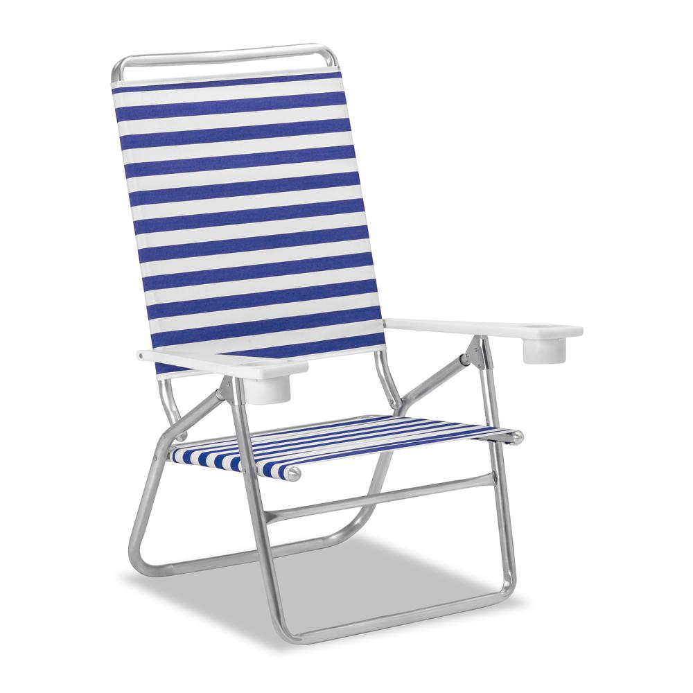 Set of 2 Telescope Casual Light 'N Easy High Boy Folding Beach Arm Chairs With Marine Grade Polymer Arms With Cup Holders With Blue/White Stripe Fabric. Picture 1
