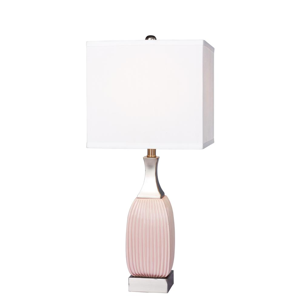 Ribbed Brass Floor Lamp: Fangio Lighting's #8987PN 26.5 In. Vertically Ribbed Blush
