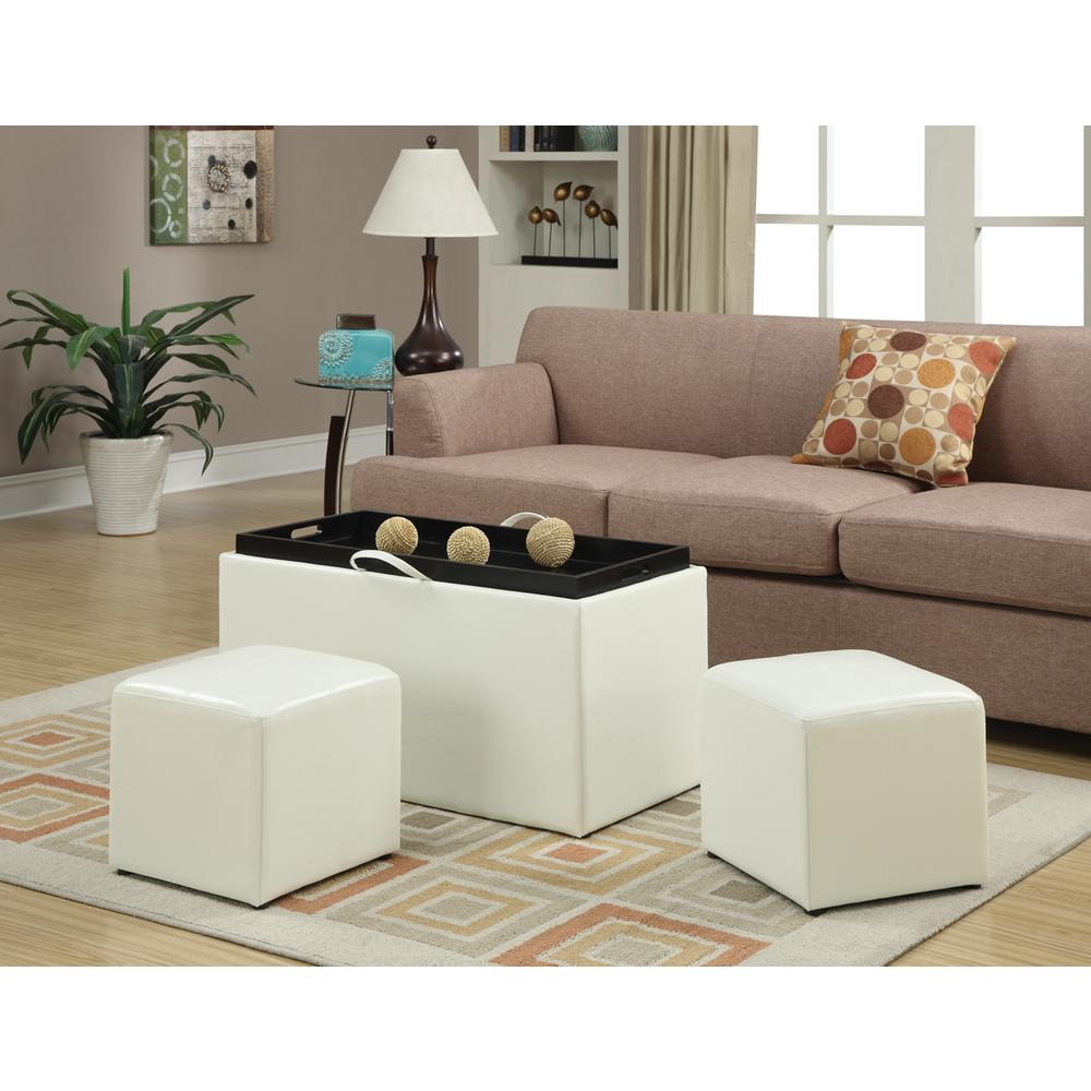 Designs4Comfort Sheridan Storage Bench w/ 2 Side Ottomans. Picture 1