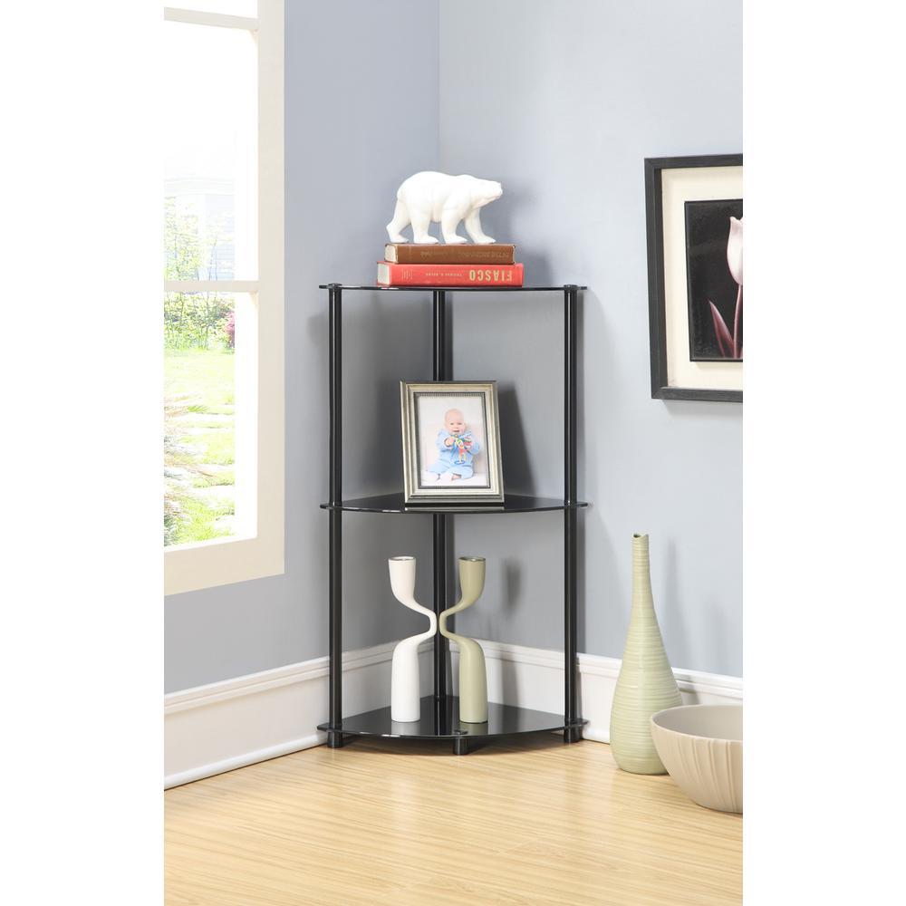 Designs2Go Classic Glass 3 Tier Corner Shelf. Picture 2