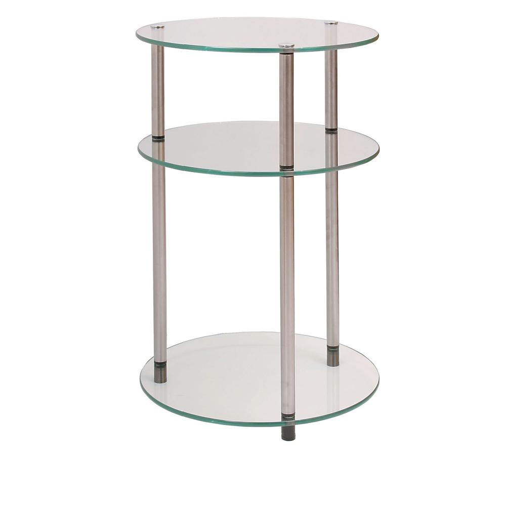 Designs2Go Classic Glass 3 Tier Round Table. Picture 1