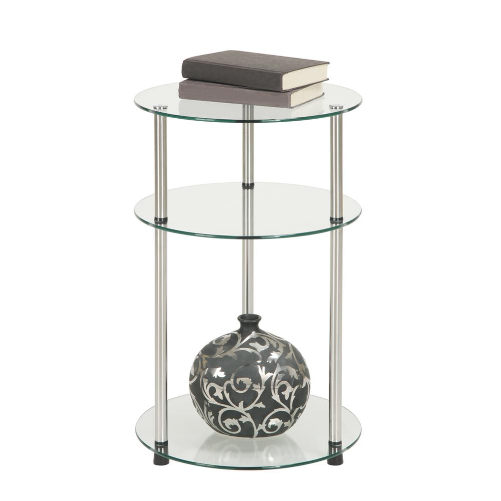Designs2Go Classic Glass 3 Tier Round Table. Picture 4