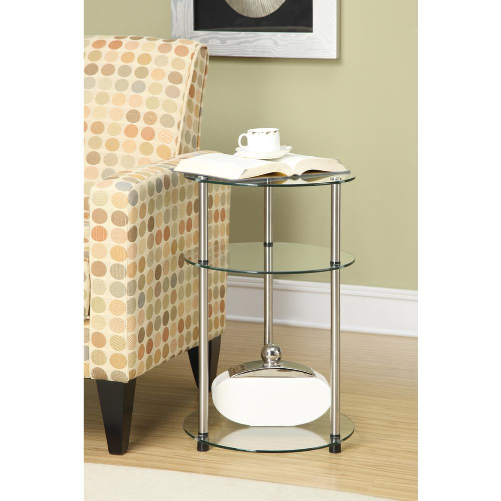 Designs2Go Classic Glass 3 Tier Round Table. Picture 2