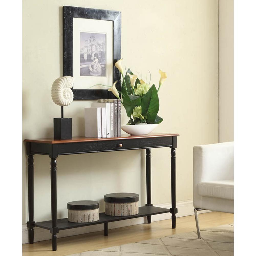 French Country Console Table with Drawer and Shelf. Picture 3
