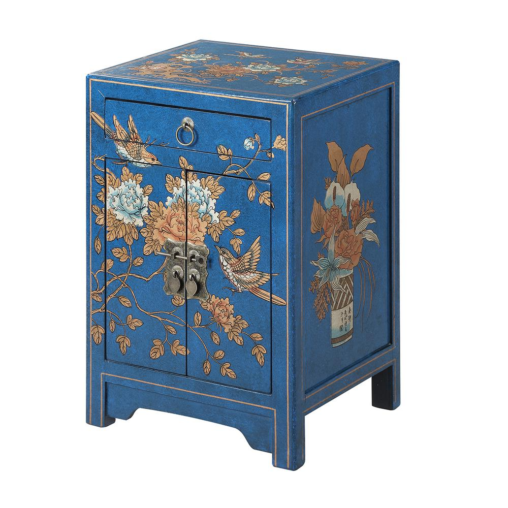 Touch of Asia 1 Drawer Cabinet End Table. Picture 1