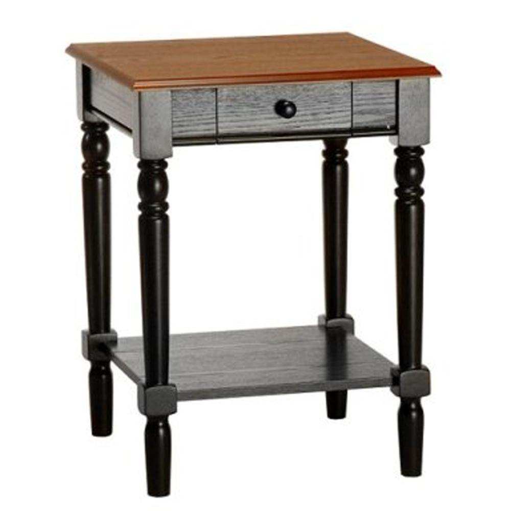 French Country End Table with Drawer and Shelf. Picture 1