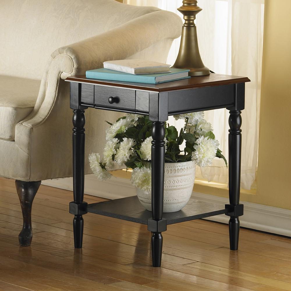 French Country End Table with Drawer and Shelf. Picture 2