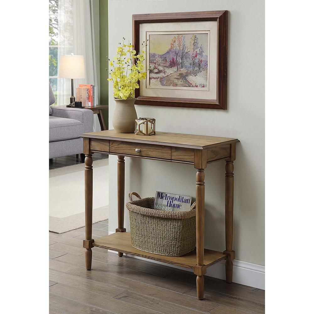 French Country Hall Table with Drawer and Shelf. Picture 3