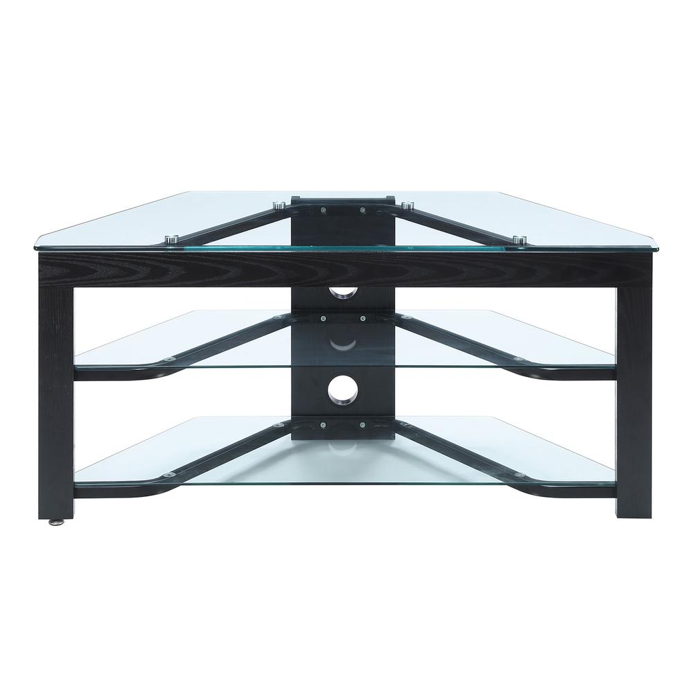 Designs2Go Classic Glass Wood and Glass TV Stand. Picture 1