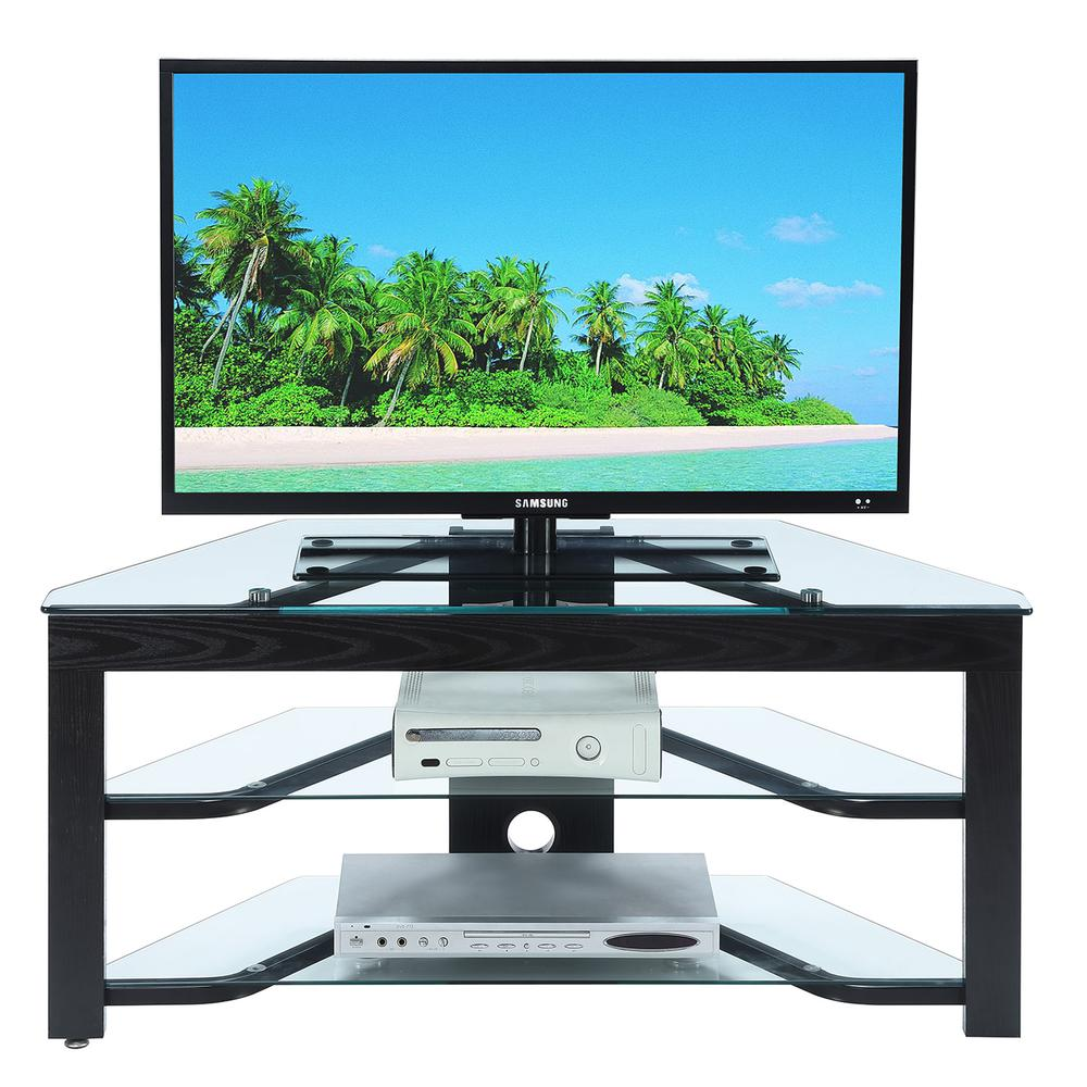 Designs2Go Classic Glass Wood and Glass TV Stand. Picture 3