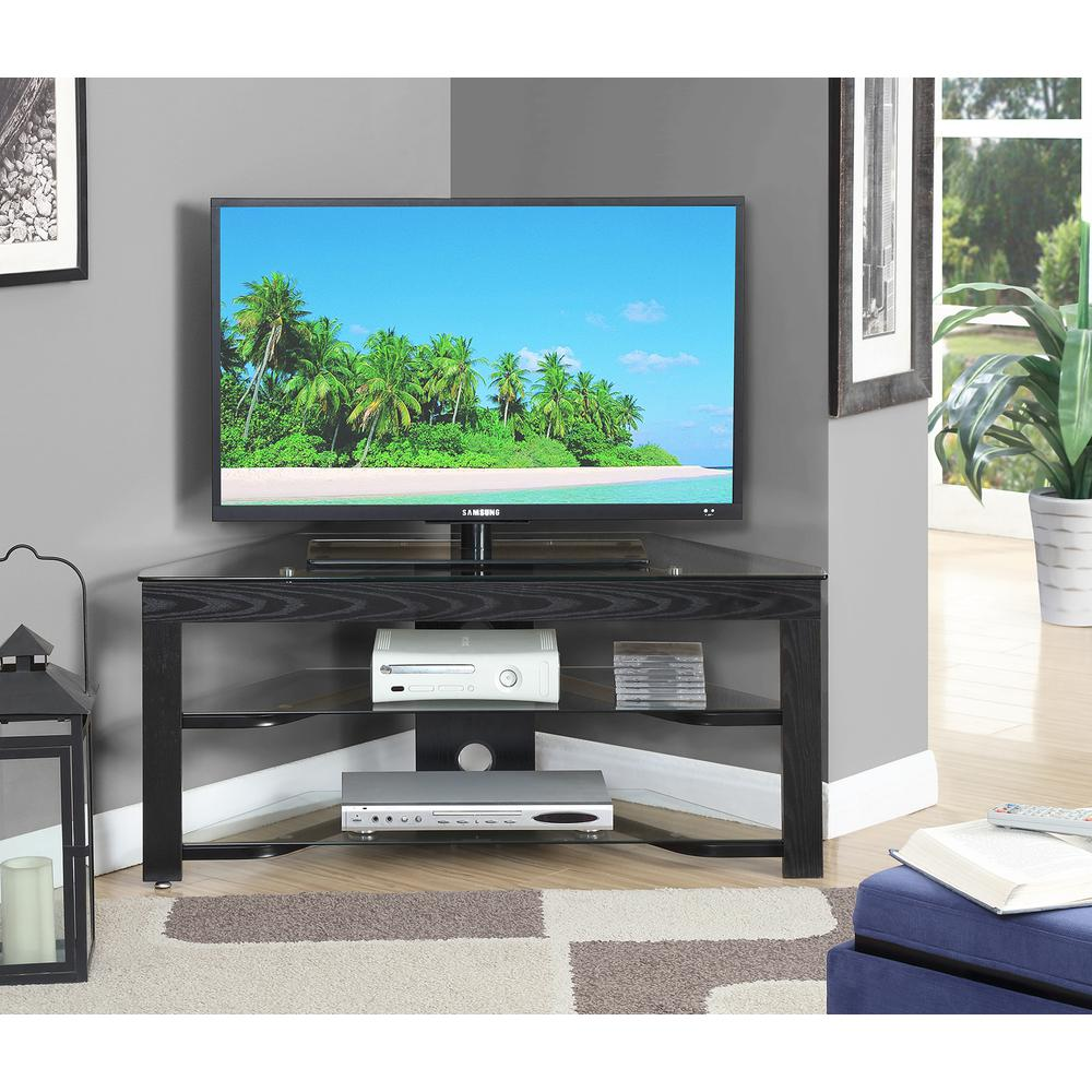 Designs2Go Classic Glass Wood and Glass TV Stand. Picture 2