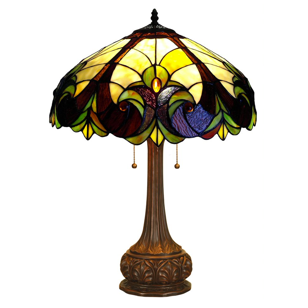 "LIAISON Tiffany-style 2 Light Victorian Table Lamp 18"" Shade"