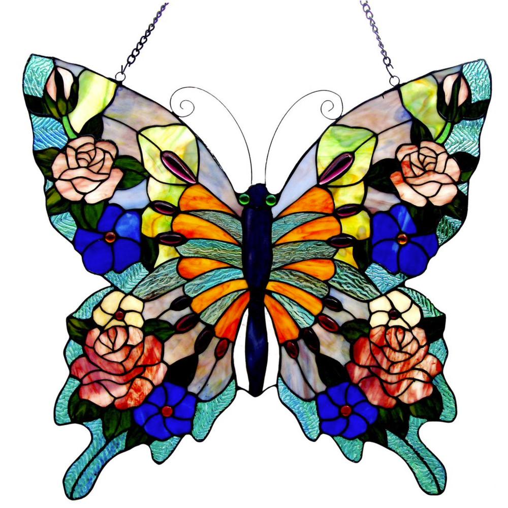 CHLOE Lighting Tiffany-glass Butterfly Window Panel 22.5x24. Picture 1