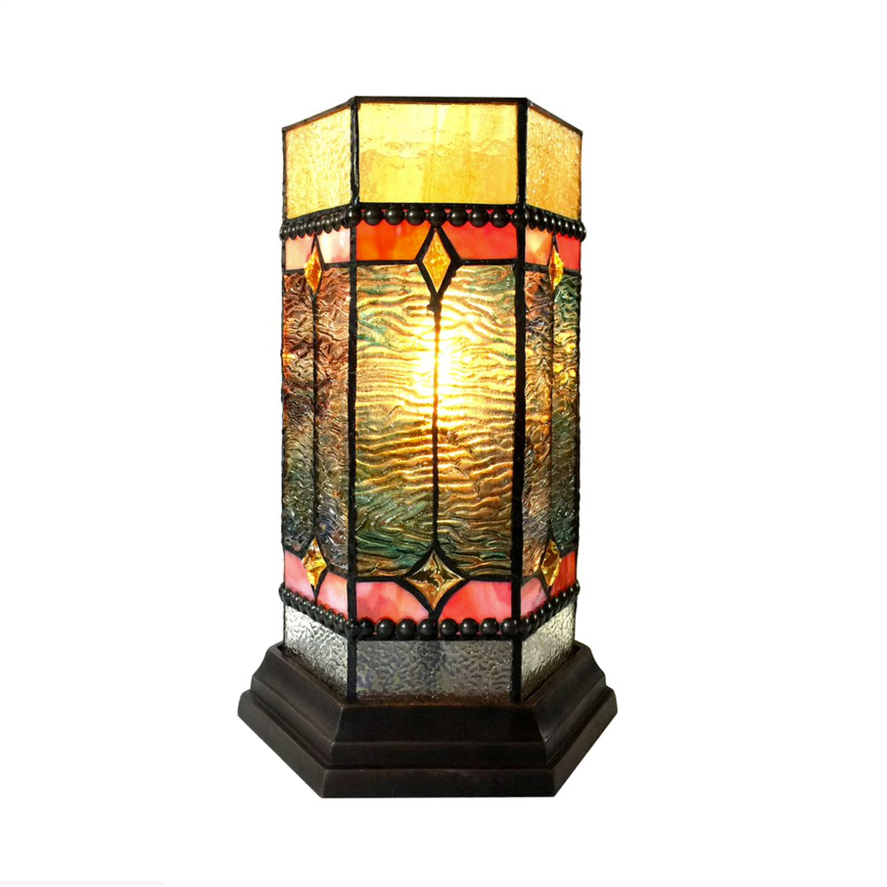 "NEILSON Tiffany-glass Accent Pedestal 1 Light Mission table lamp 14"" Tall. Picture 1"