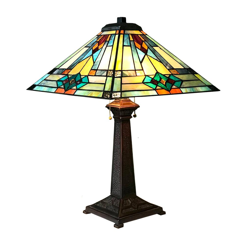 "MASON Mission 2 Light Antique Dark Bronze Table Lamp 16"" Shade. Picture 1"