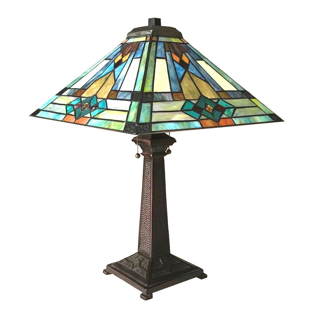 "MASON Mission 2 Light Antique Dark Bronze Table Lamp 16"" Shade. Picture 3"