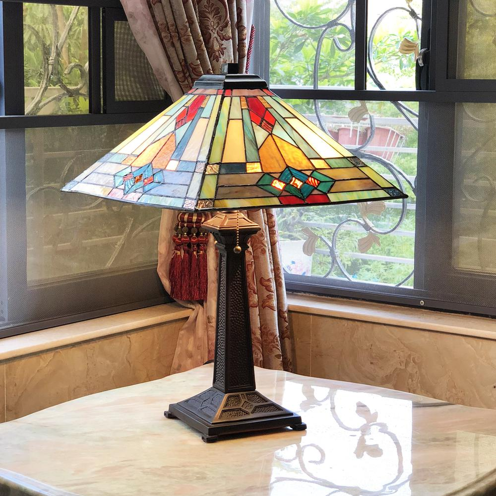 "MASON Mission 2 Light Antique Dark Bronze Table Lamp 16"" Shade. Picture 2"