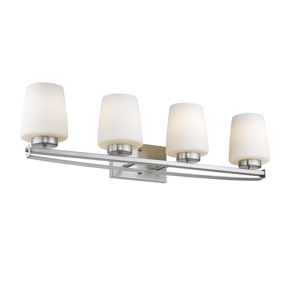 """OLIVIA Contemporary 4 Light Brushed Nickel Bath Vanity Light Etched White Glass 31"""" Wide. Picture 1"""