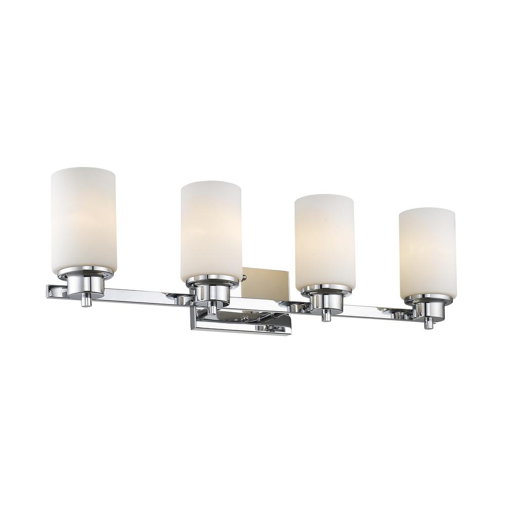 """SCARLETT Contemporary 4 Light Chrome Finish Bath Vanity Light Etched White Glass 29"""" Wide"""