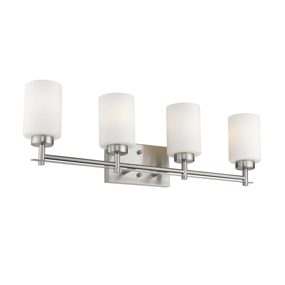 "NEVAEH Transitional 4 Light Brushed Nickel Bath and Vanity Light 29"" Wide. Picture 4"