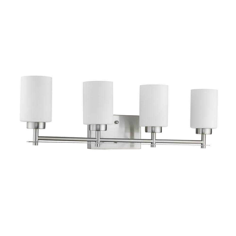 "NEVAEH Transitional 4 Light Brushed Nickel Bath and Vanity Light 29"" Wide. Picture 3"