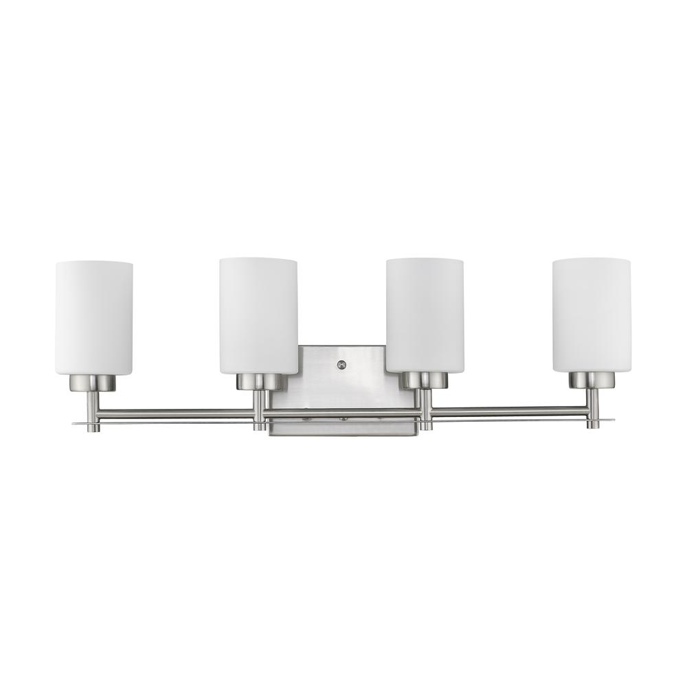 "NEVAEH Transitional 4 Light Brushed Nickel Bath and Vanity Light 29"" Wide. Picture 2"