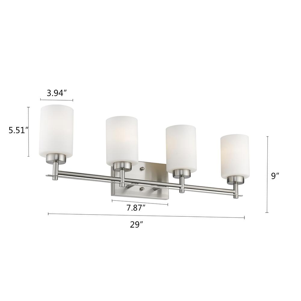"NEVAEH Transitional 4 Light Brushed Nickel Bath and Vanity Light 29"" Wide. Picture 1"