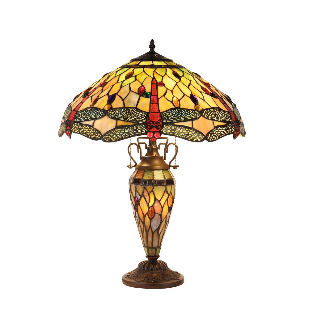 "ANISOPTERA PURITY Tiffany-style Dragonfly 3 Light Double Lit Table Lamp 19"" Shade. Picture 1"