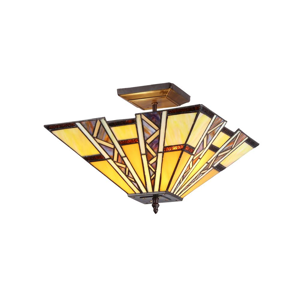 "PROGRESSIVE Tiffany-style 2 Light Mission Semi-flush Ceiling Fixture 14"" Shade. Picture 1"