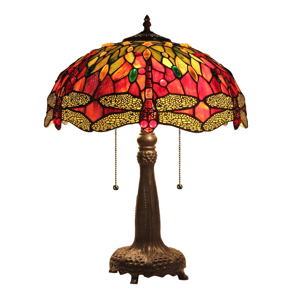 "EMPRESS Tiffany-style Dragonfly 2 Light Table Lamp 18"" Shade. Picture 1"