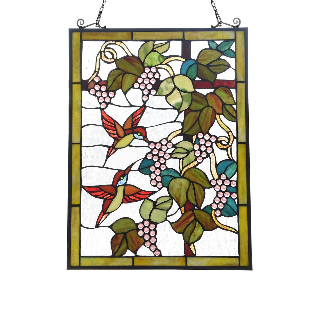 "CHLOE Lighting VINEYARD Tiffany-style Animal Design Window Panel 18"" x 25"". Picture 1"