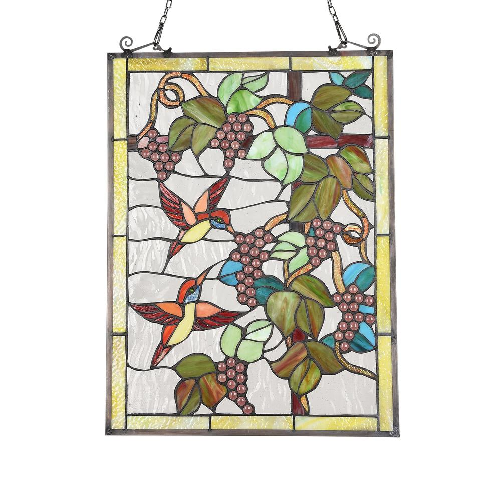 "CHLOE Lighting VINEYARD Tiffany-style Animal Design Window Panel 18"" x 25"". Picture 2"