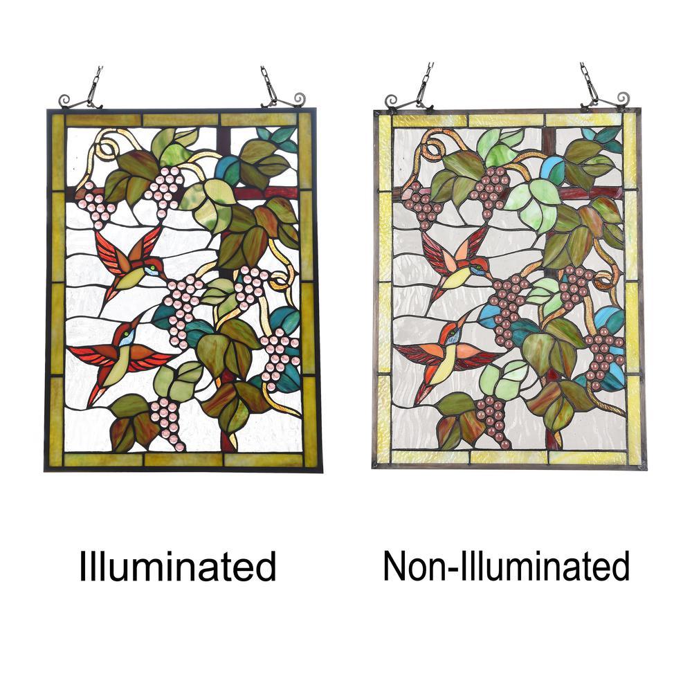 "CHLOE Lighting VINEYARD Tiffany-style Animal Design Window Panel 18"" x 25"". Picture 3"