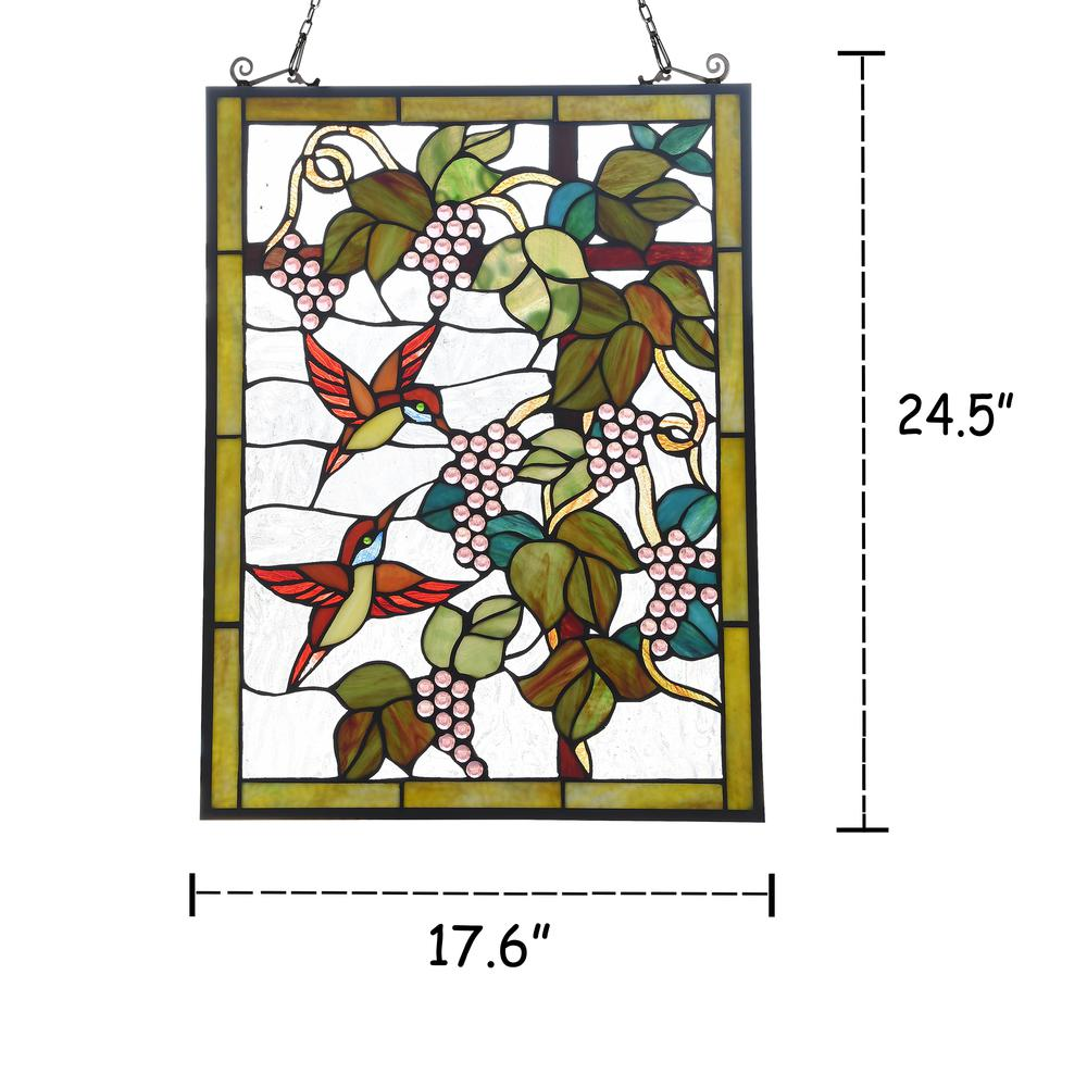 "CHLOE Lighting VINEYARD Tiffany-style Animal Design Window Panel 18"" x 25"". Picture 4"