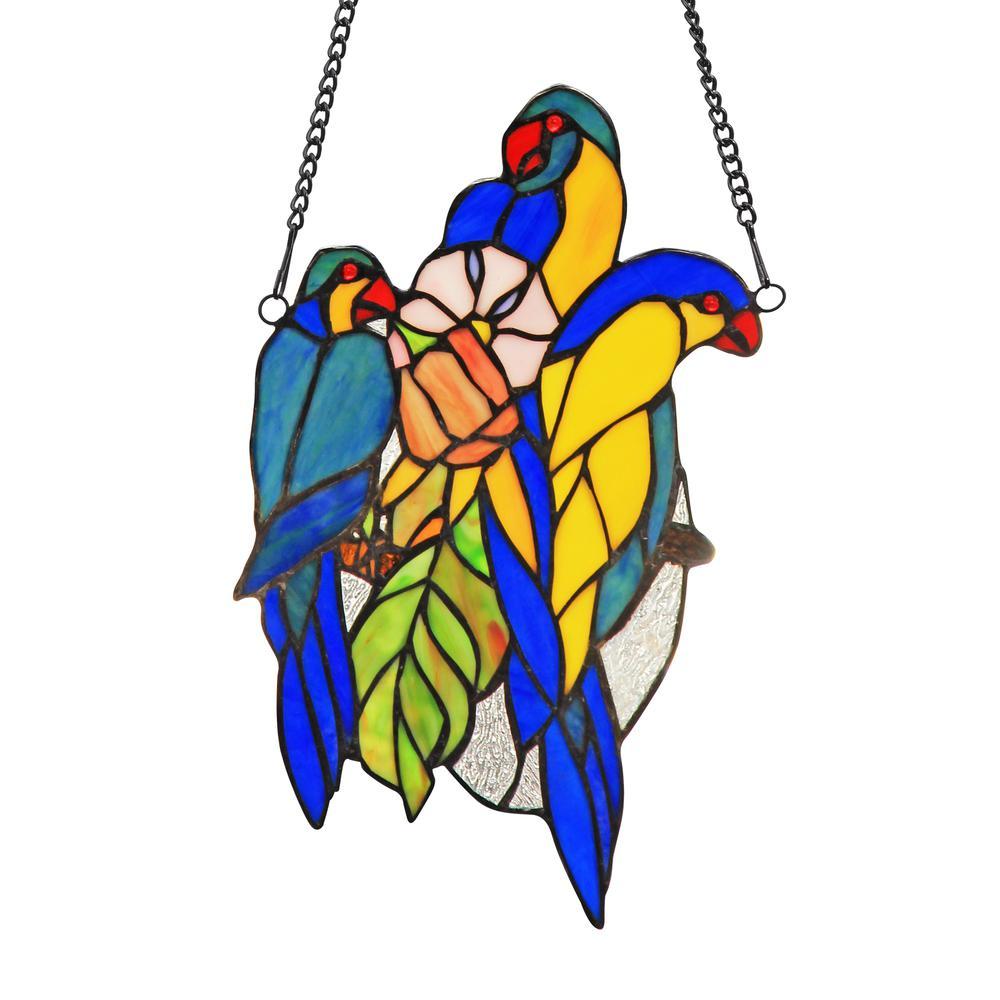 "BLUETAIL Tiffany-glass Window Panel 13"". Picture 1"