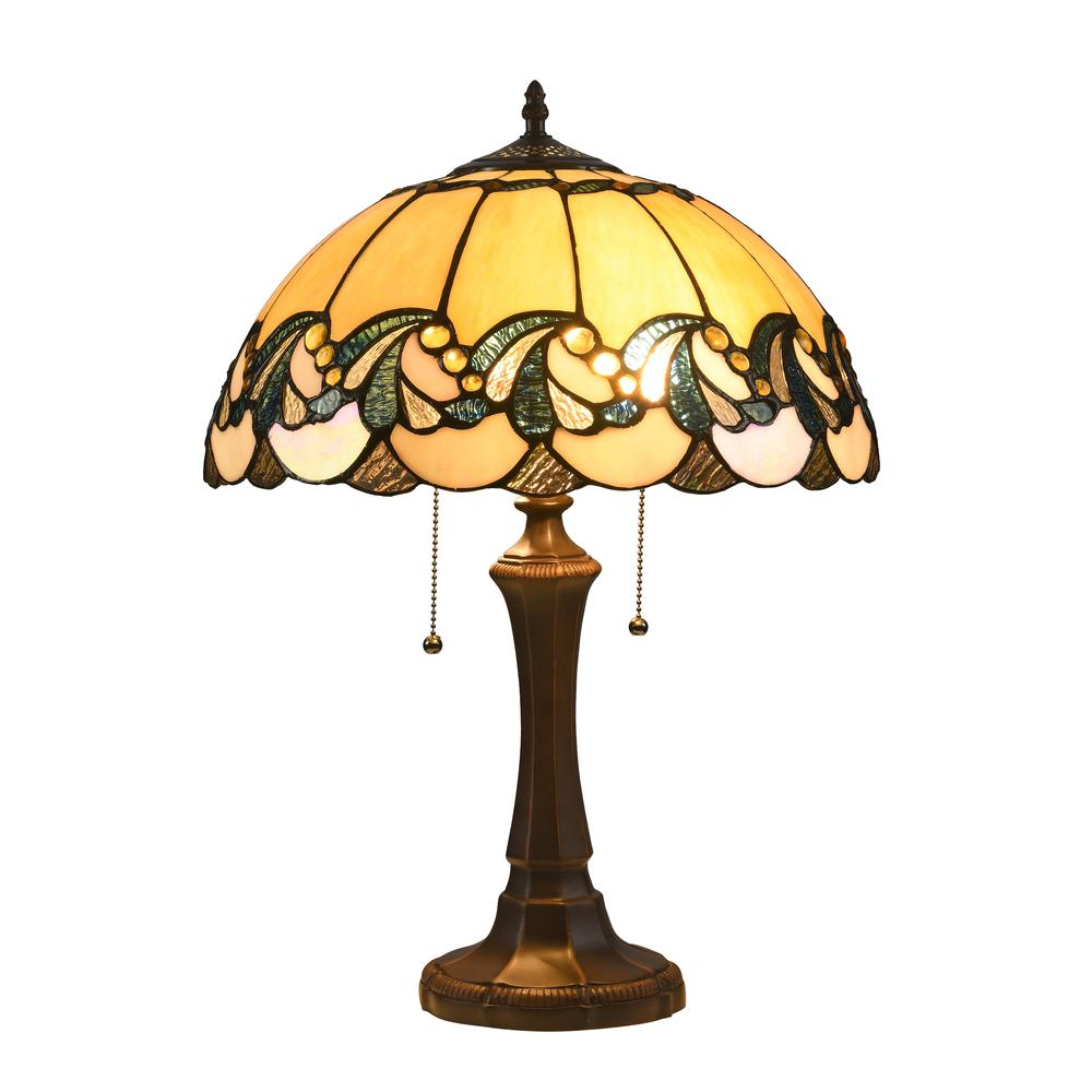"""EFFIE Tiffany-style 2 Light Victorian Table Lamp 16"""" Shade. Picture 4"""