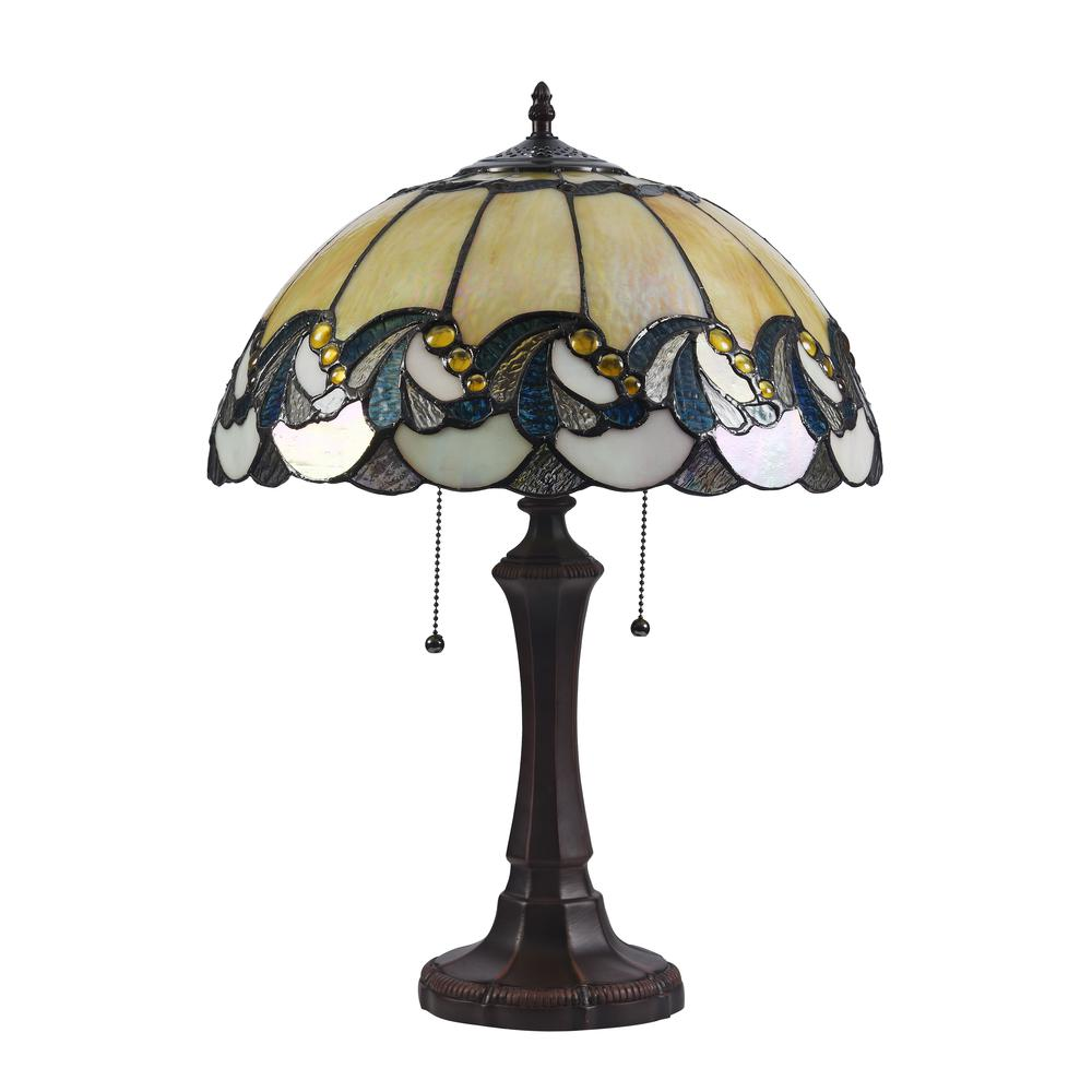 """EFFIE Tiffany-style 2 Light Victorian Table Lamp 16"""" Shade. Picture 3"""