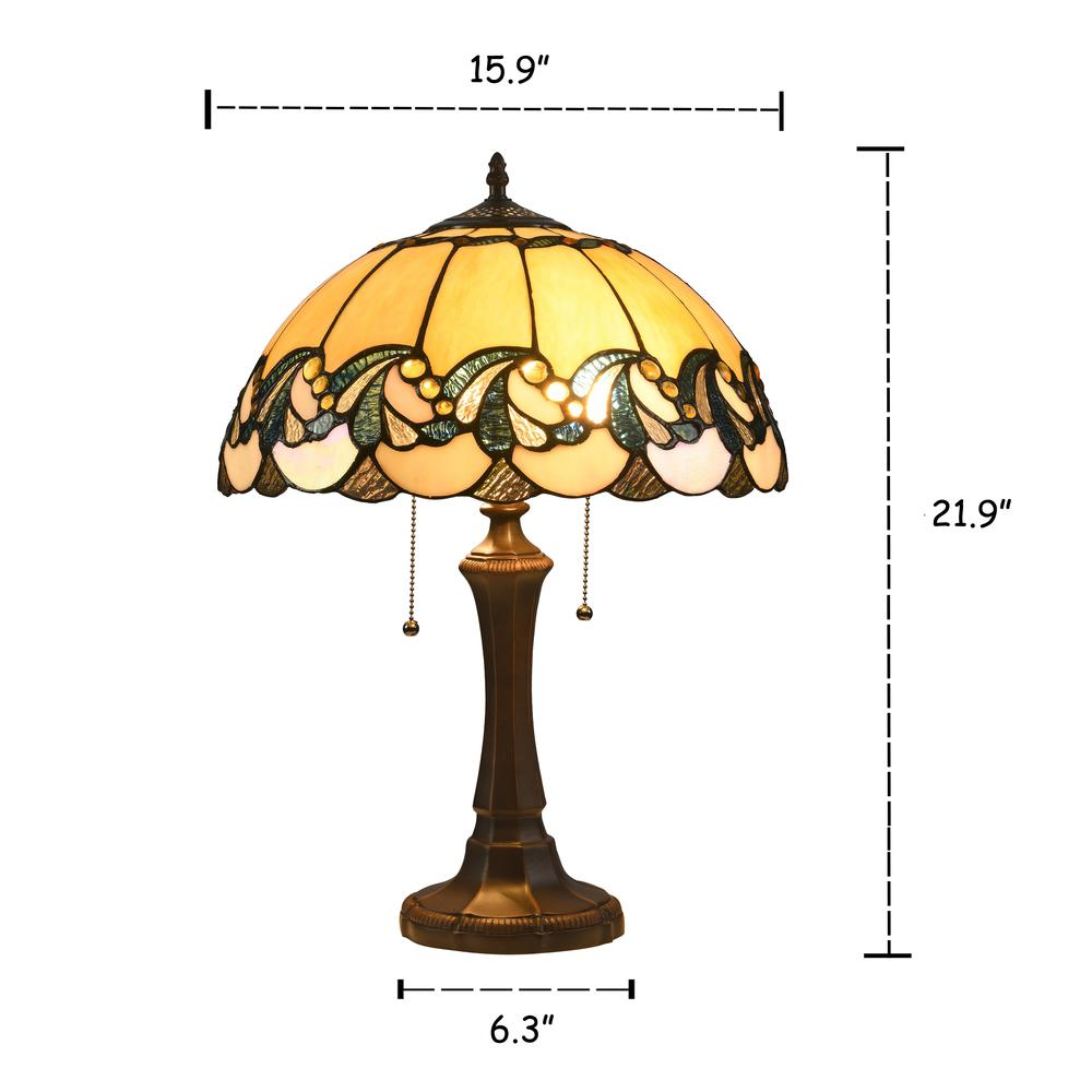 """EFFIE Tiffany-style 2 Light Victorian Table Lamp 16"""" Shade. Picture 1"""