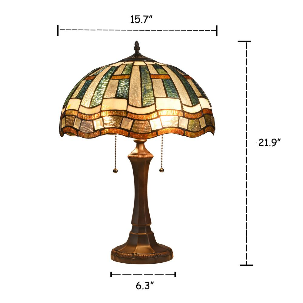 """Washable Rugs Denby Dale: DENBY Tiffany-style 2 Light Mission Table Lamp 16"""" Shade"""