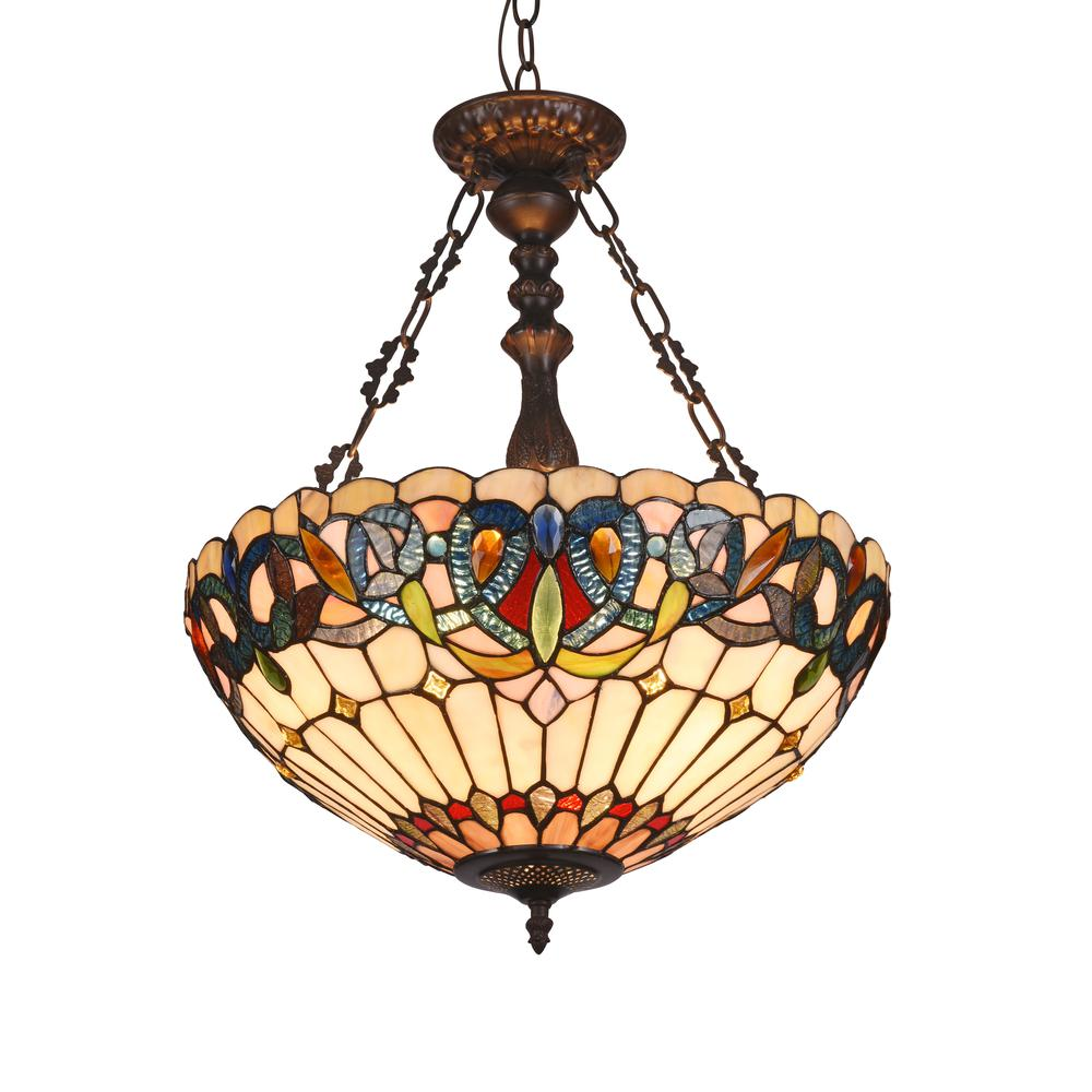 Serenity Tiffany Style 3 Light Victorian Inverted Ceiling