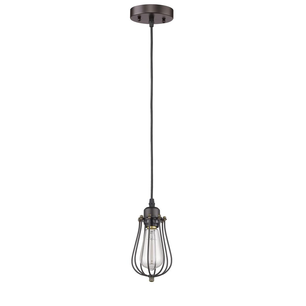 """CHARLES Industrial-style 1 Light Rubbed Bronze Ceiling Mini Pendant 5"""" Shade. Picture 1"""